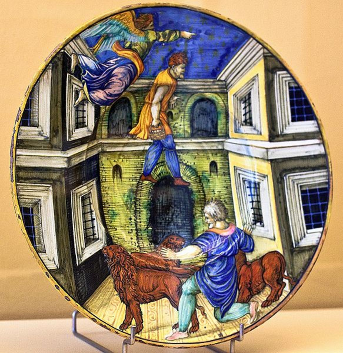 Majolica plate in Museum Boymans van Beuningen in Rotterdam. Photographed by Artshooter. Image courtesy Wiki Commons
