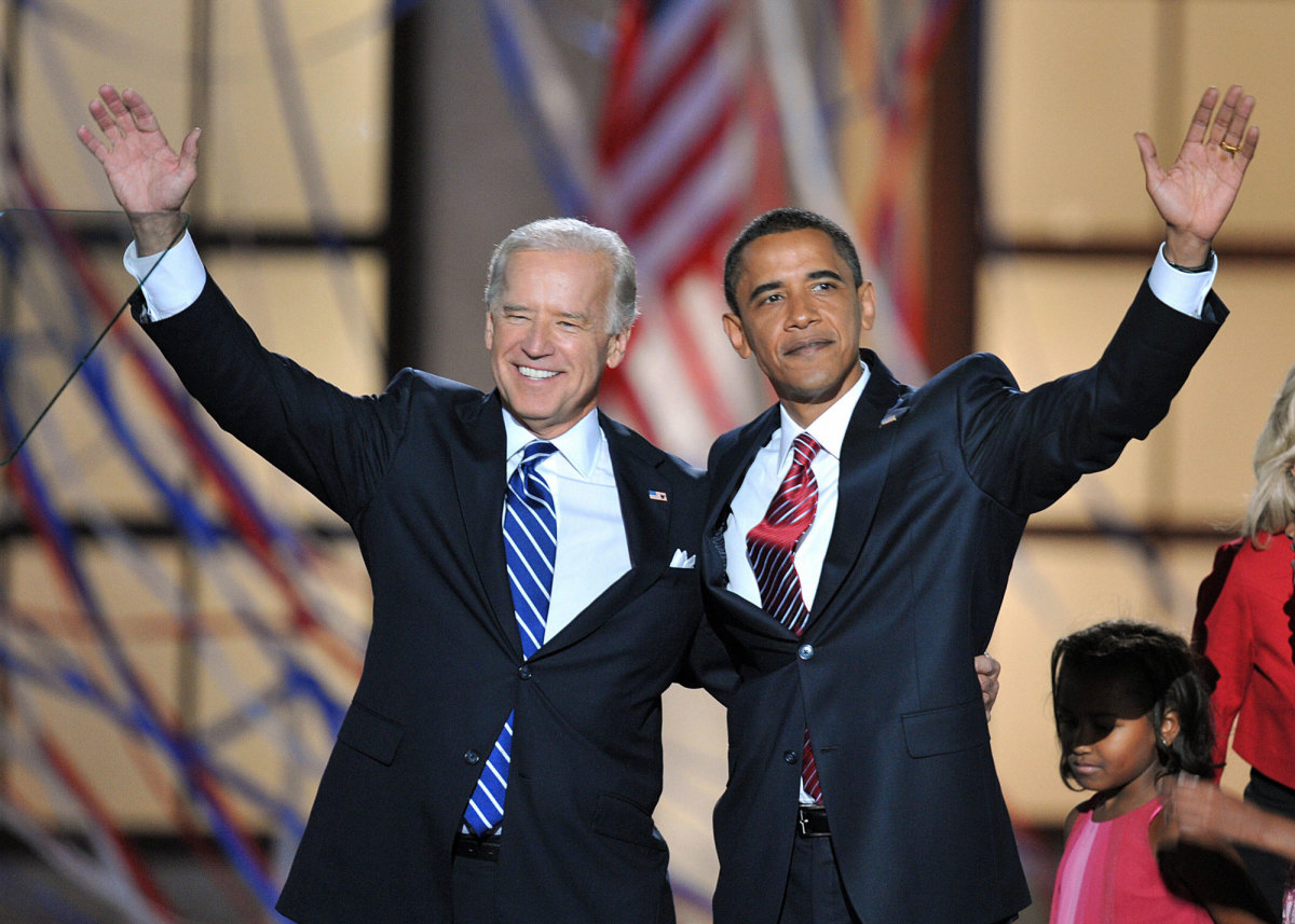 Former President and Vice President Barack Obama and Joe Biden