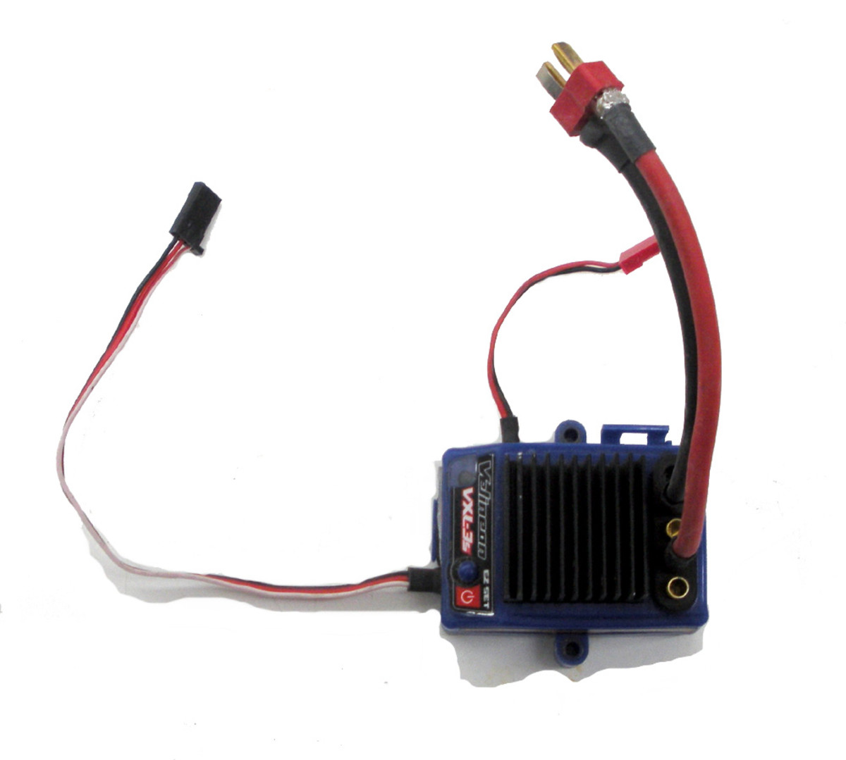 ESC for brushless motors.  Note connections for receiver and battery pack, but not for motor. Those plug in from the motor.