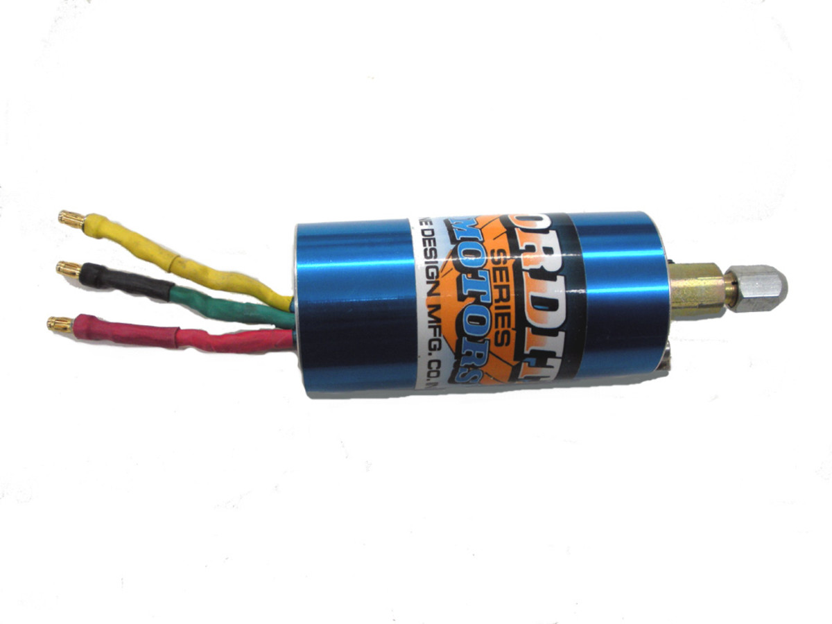 Brushless motor side view. Note pre-attached color-coded wires. (This particular one is a marine motor for model boats.  Brushless motors for cars do not have a shaft protruding.)