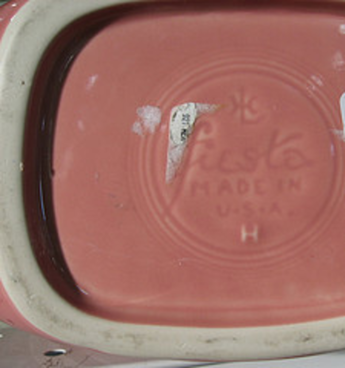 """Proven trademarkings """"Fiesta"""" written in Script, the raised 'H"""" to show a Post 1986 piece made on an old mold, Made in USA"""