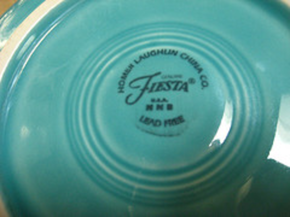 Stamp identification--the same raised H, Fiestaware written in script, or Made in the USA are used on both old and new Fiesta, so you really can only tell the age from the condition and color. The new colors are similar, but a little different.