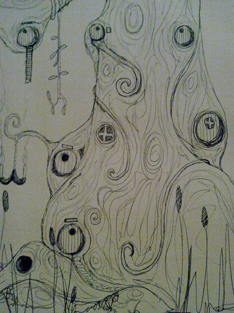 Sketch for potential elven dwelling, by my brother.