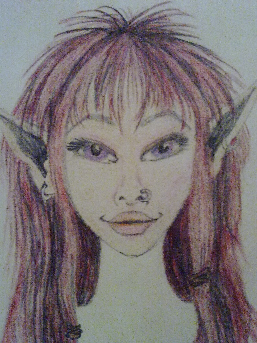 A little sketch of one of my characters: this is Nym, an elf, by me!