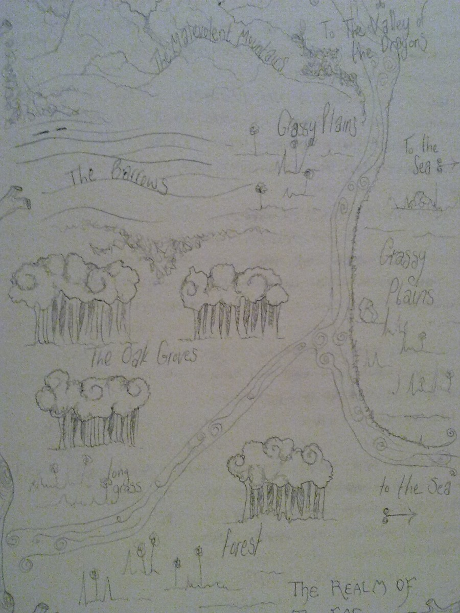 Illustrated map of my imagined land, by my brother (apologies for lack of photographic quality).