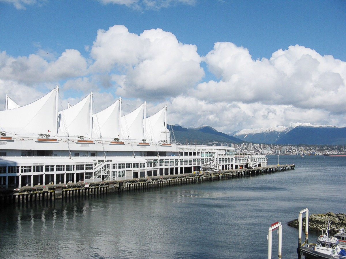 Architecture and design can provide ideas for writing topics. The five giant sails in the photo are located on the Canada Place pier in downtown Vancouver.