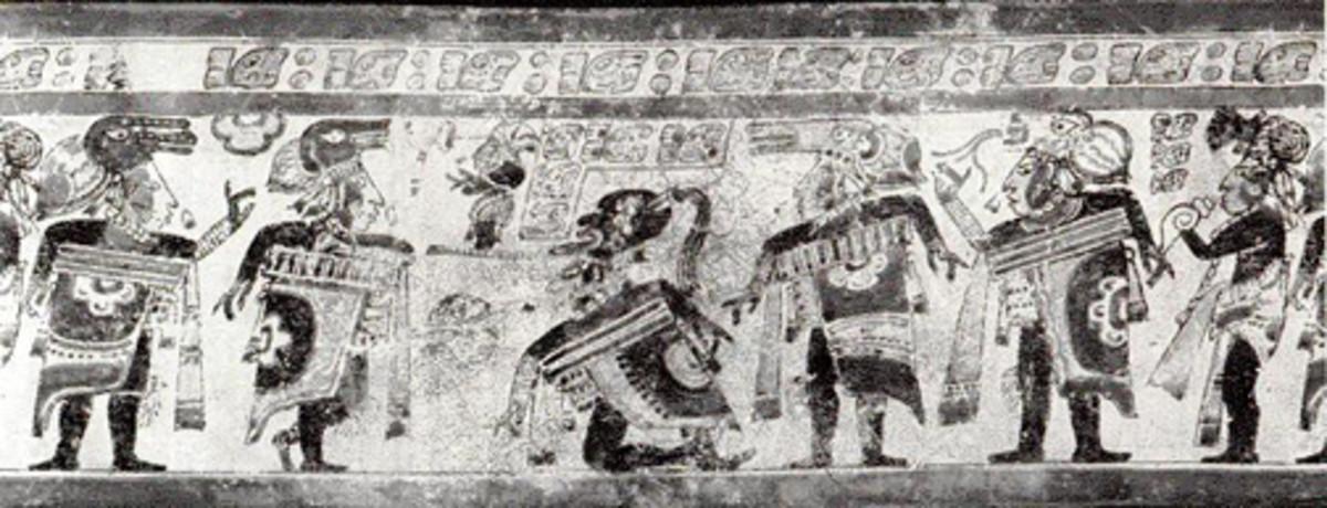 Ball game scene on a Mayan vase