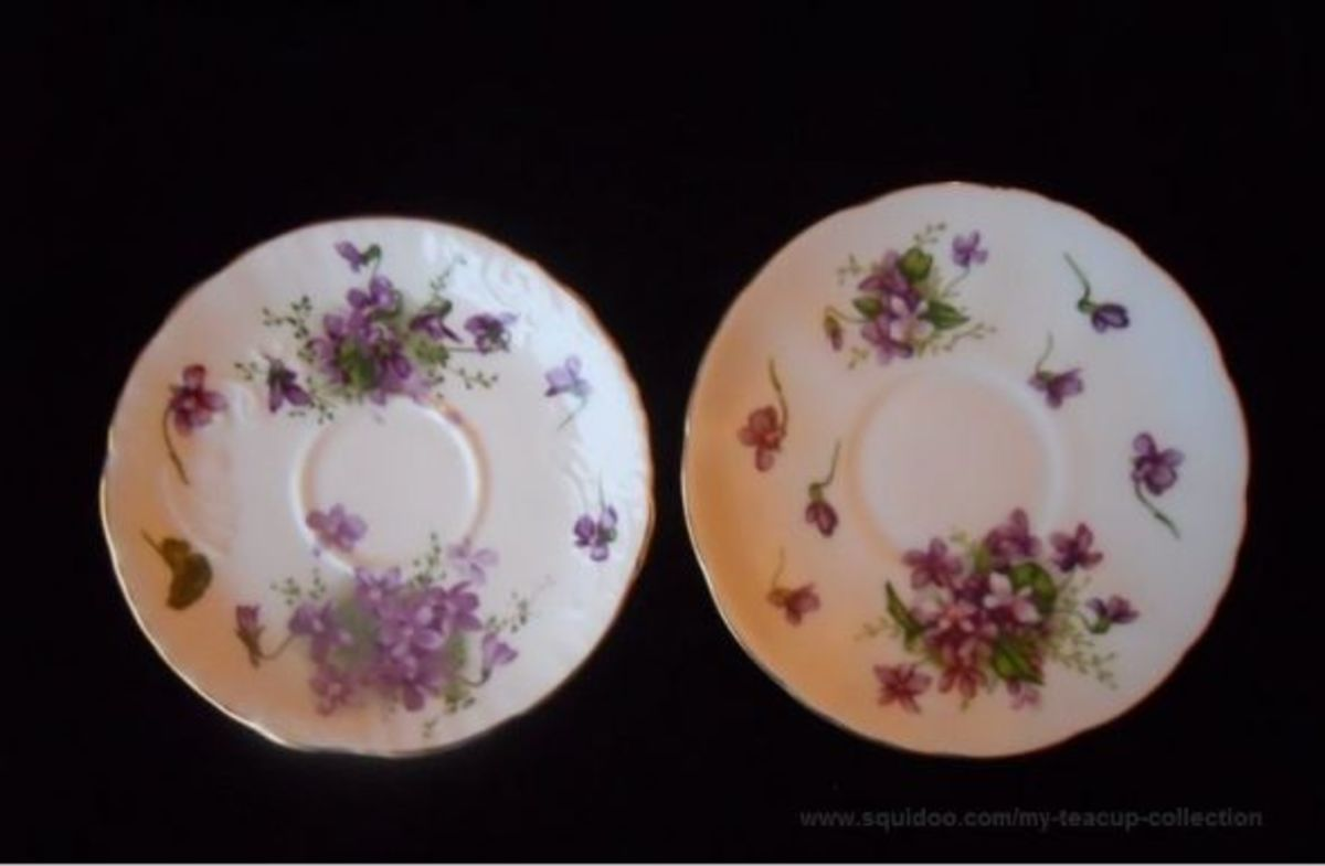 I only have a saucer for the Rossetti Spring Violets pattern. I included it here so you can see how similar it is to the Hammersley Victorian Violets pattern. Hammersley is on your left and the Rossetti is on your right. Both are discontinued.