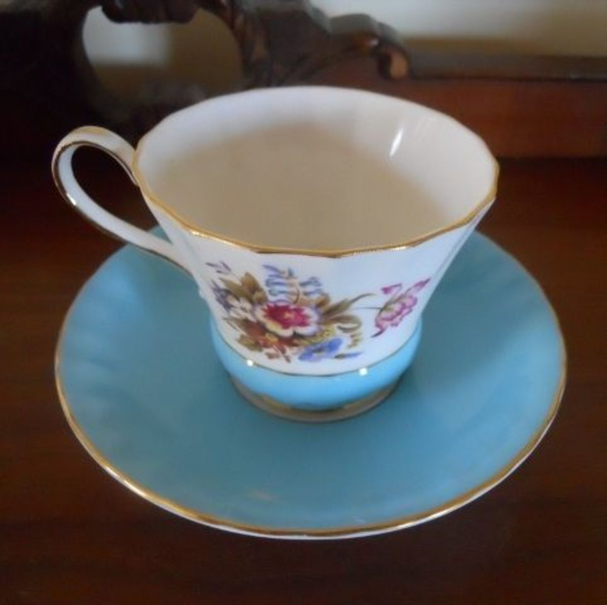 Turquoise with Floral Tea Cup—Aynsley Design #2958