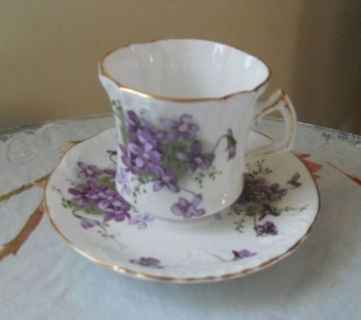 Victorian Violets Teacup and Saucer—Hammersley—a member of the Spode Group