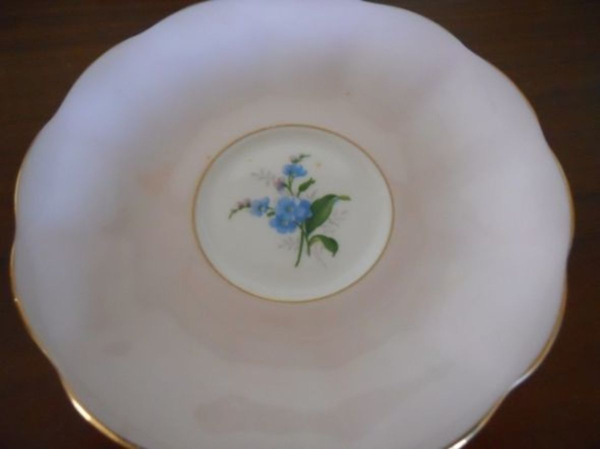 The saucer showing the forget-me-not design underneath.