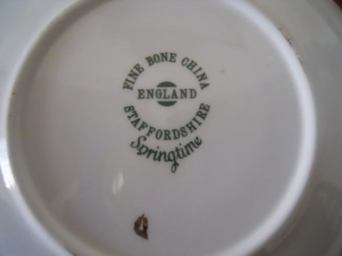 "The porcelain mark on the Staffordshire ""Springtime"" cup and saucer."