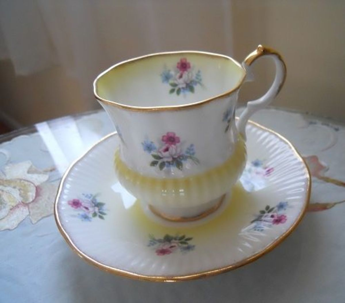 Yellow Floral Teacup by Elizabethan Bone China, Ltd.