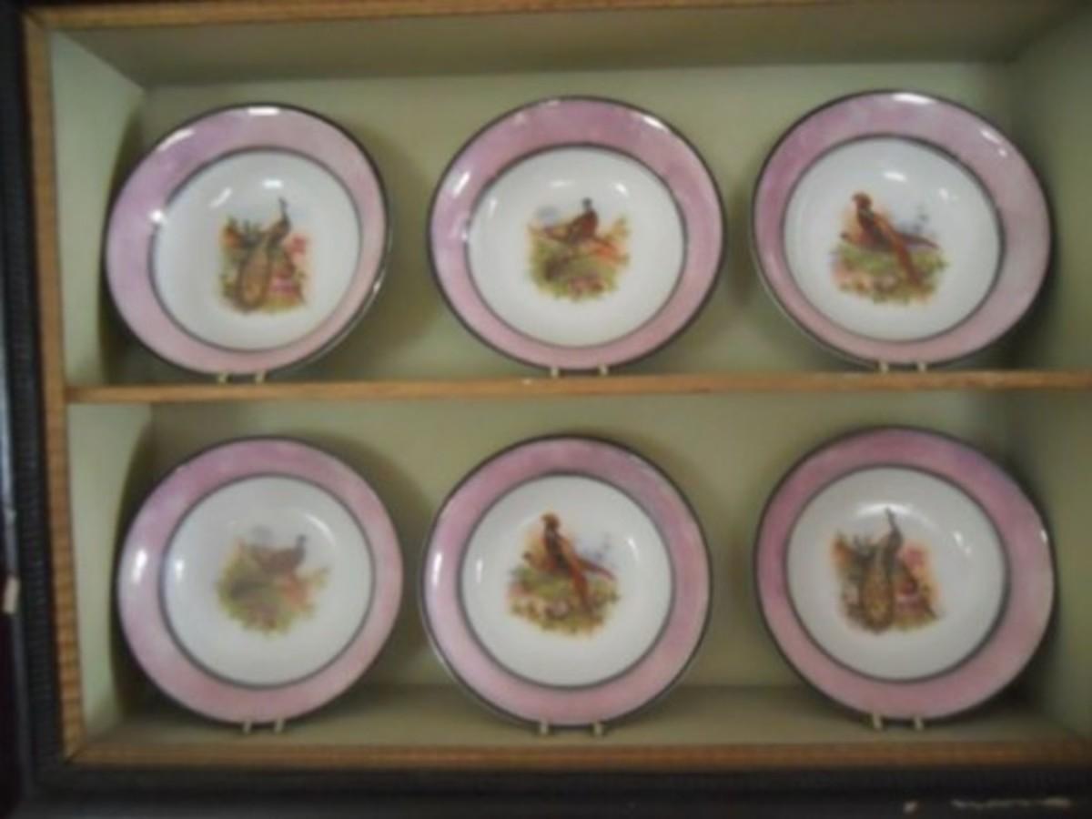 P M dessert plates -wild game