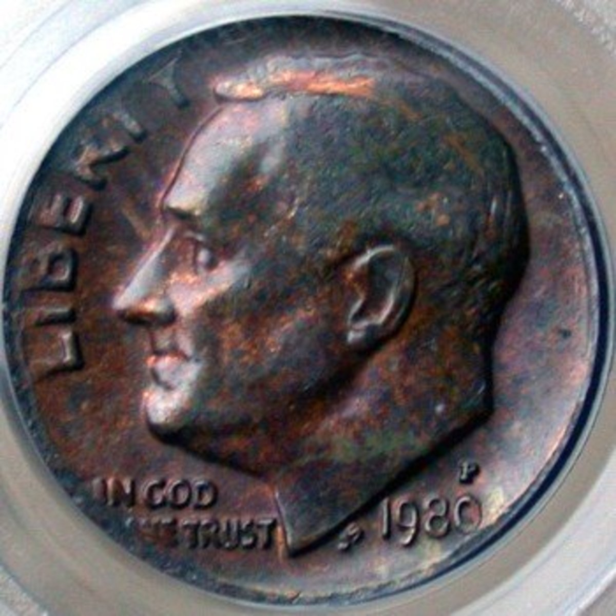 1980 Roosevelt Dime Error Missing Clad Layer.