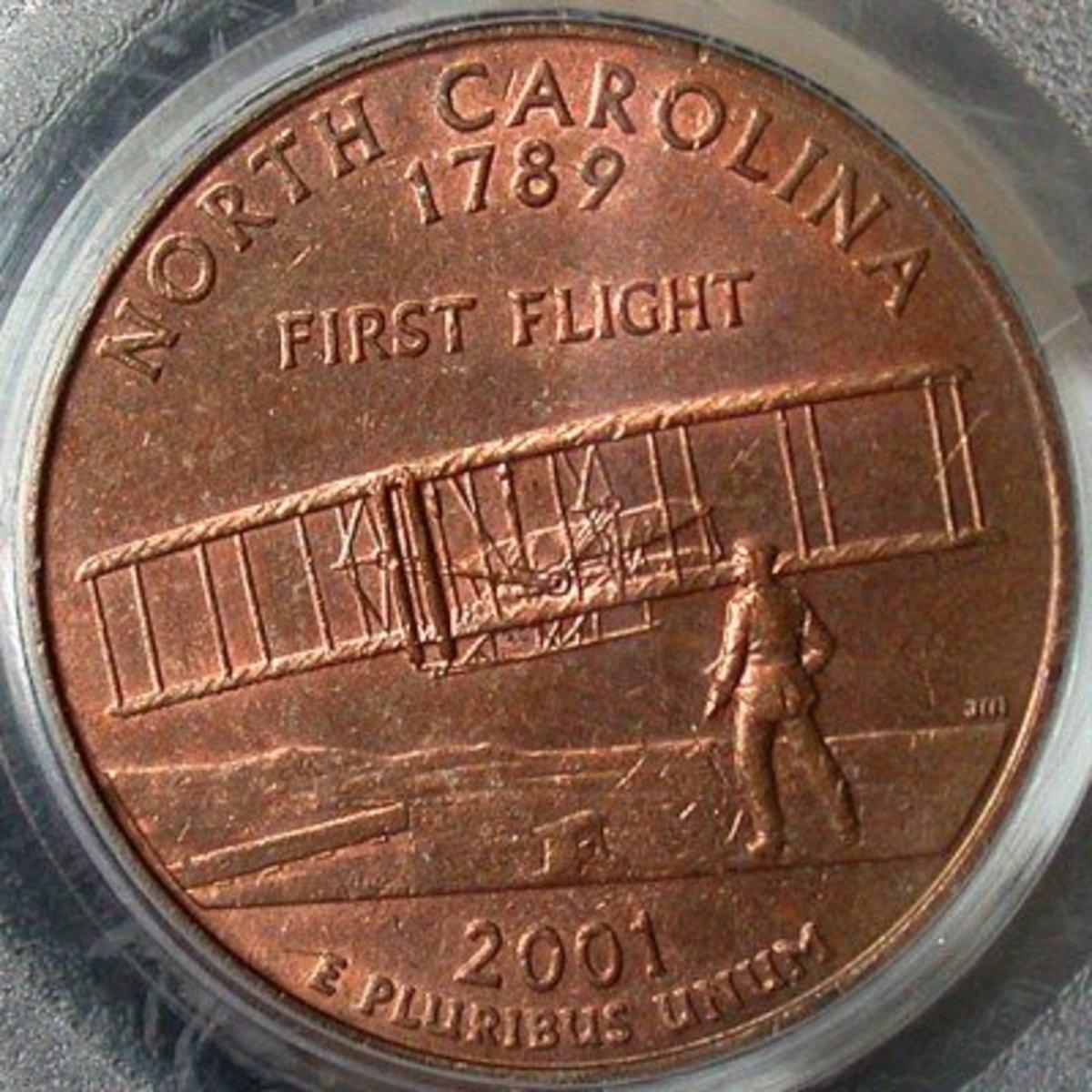 2001 North Carolina Missing Clad Layer Error. Photo Courtesy: coinpage.com