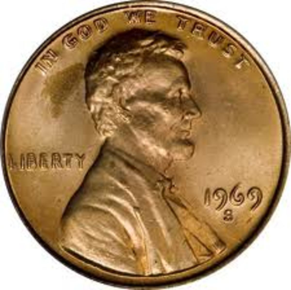 The 1969-S penny is also a doubled die. You can clearly see it has been stamped twice.