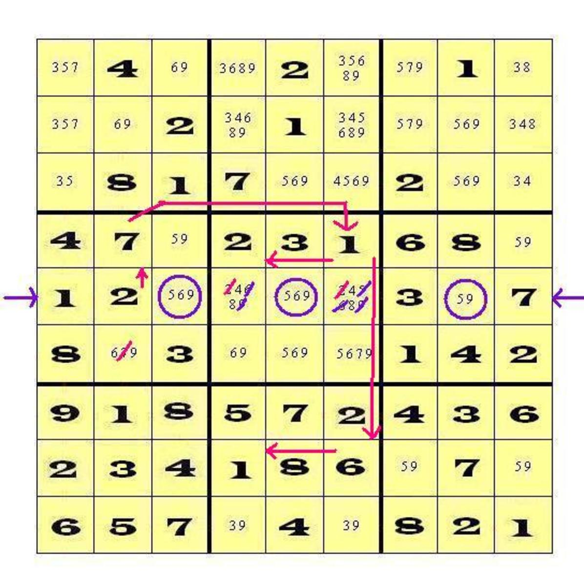 When you enter the 2 as the correct digit in cell 52, you begin a chain of consequences.  Notice all the digits that can be placed as a result of finding that triplet!