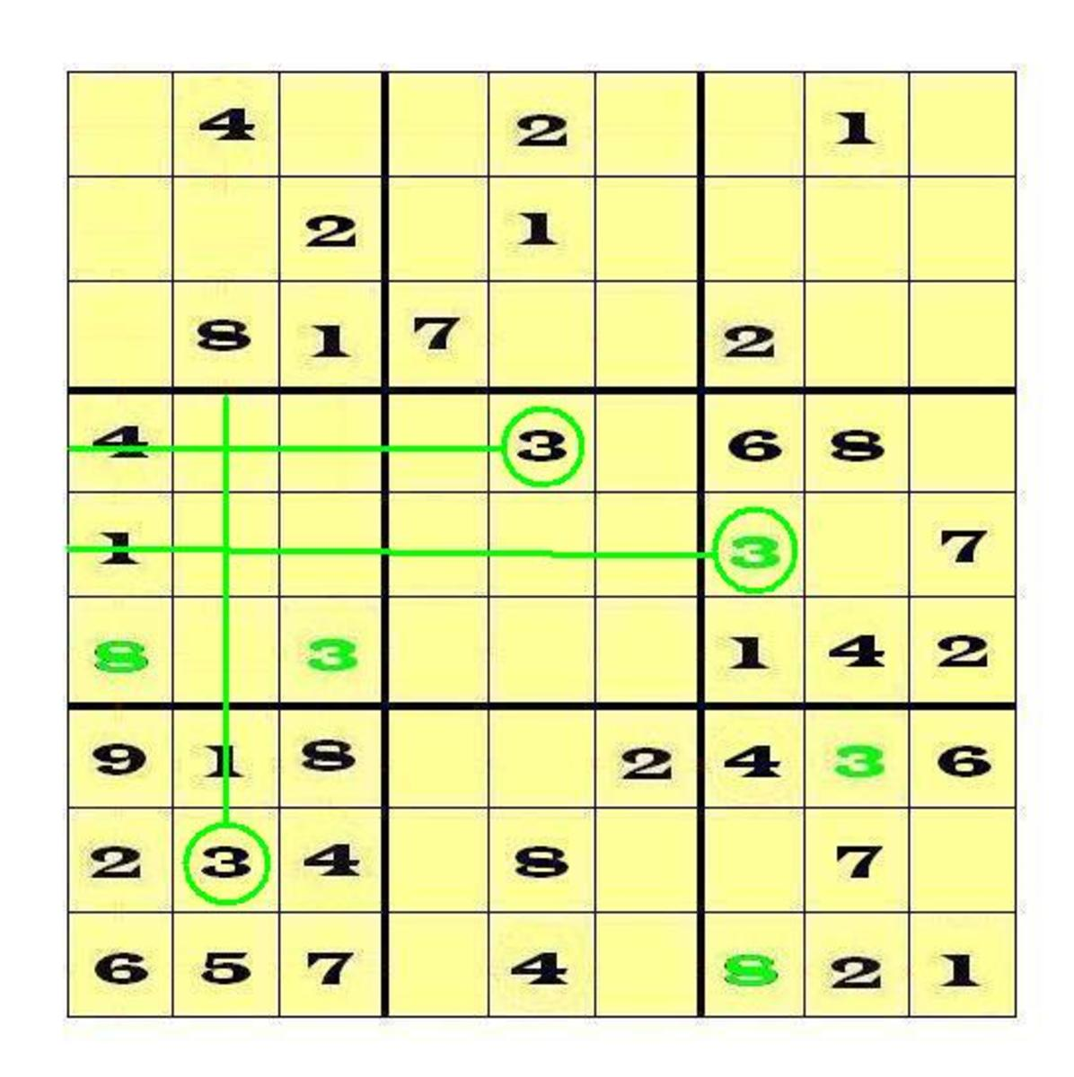 Slice 'n' Dice (Cross Hatching) to place the 3 digit in Block 4.  Afterwards, pay attention to Row 7.