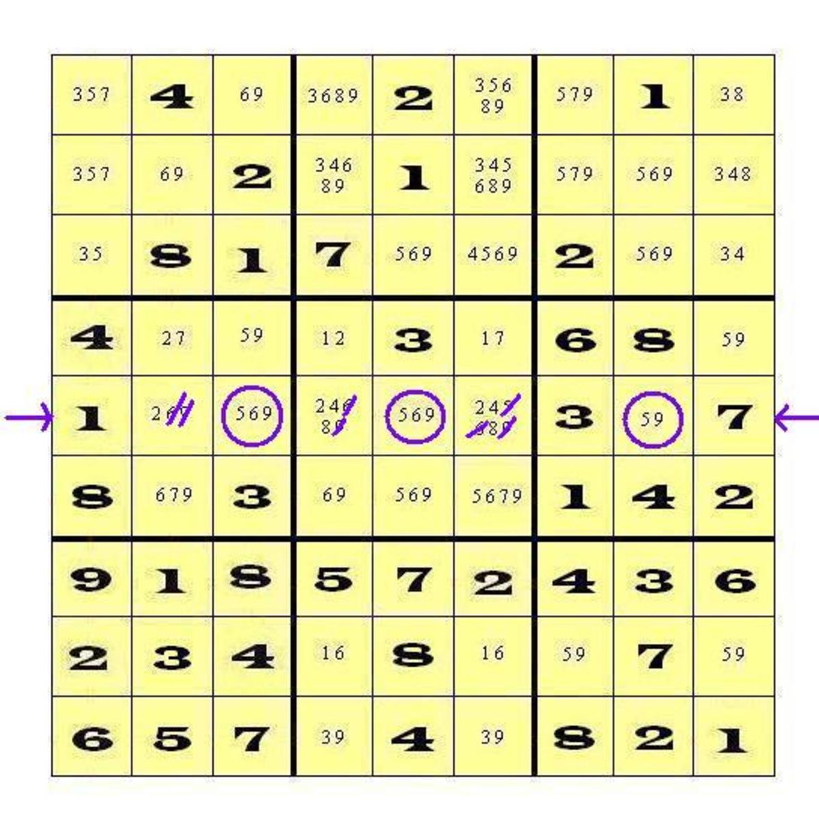 """Notice that when the digits of the triplet are marked off, one of the cells is left with a """"Singleton"""" - only one digit remaining (One Choice) - cell 52."""