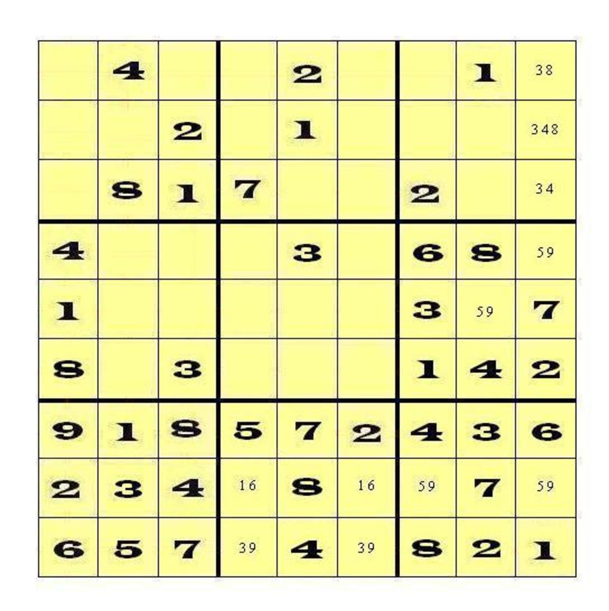 You could have found twins either in Row 8 of Block 9 or in Row 9 of Block 8.  In either case, the Twin pair would eliminate 9 from consideration in Row 8 of Block 8.