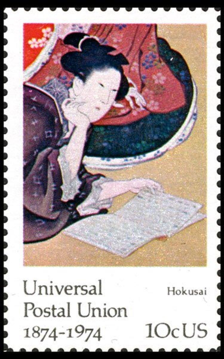 "Katsushika Hokusai, Woman Representing Literacy, from ""Five Beautiful Women"""