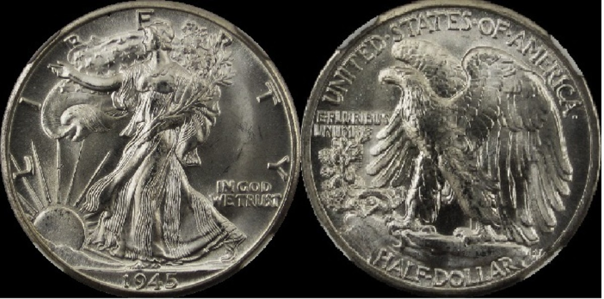 Front and rear of Adolph A. Weinman's design for Walking Liberty Half Dollar.