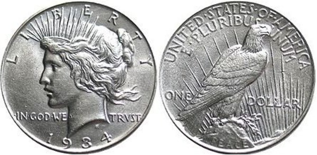 The Peace Dollar, by Anthony de Francisci, minted between 1921 and 1935.