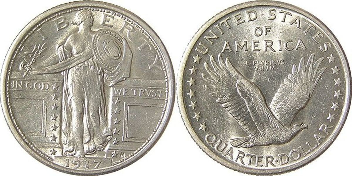 The original front and rear of Hermon MacNeil's Standing Liberty quarter.