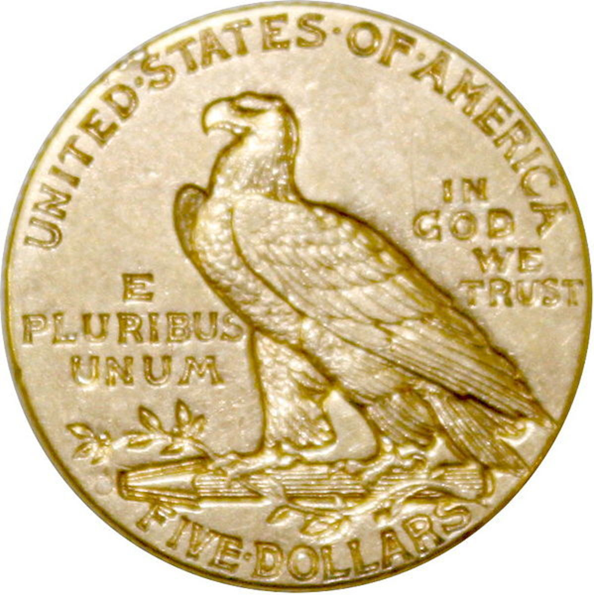 The front and rear of Bela Lyon Pratt's 1908 design for the Indian Head Half Eagle.