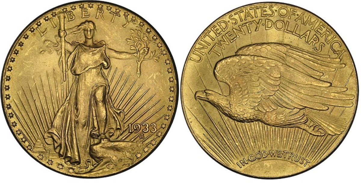 Augustus Saint-Gaudens' Double Eagle, as it appeared from 1908 to 1933.