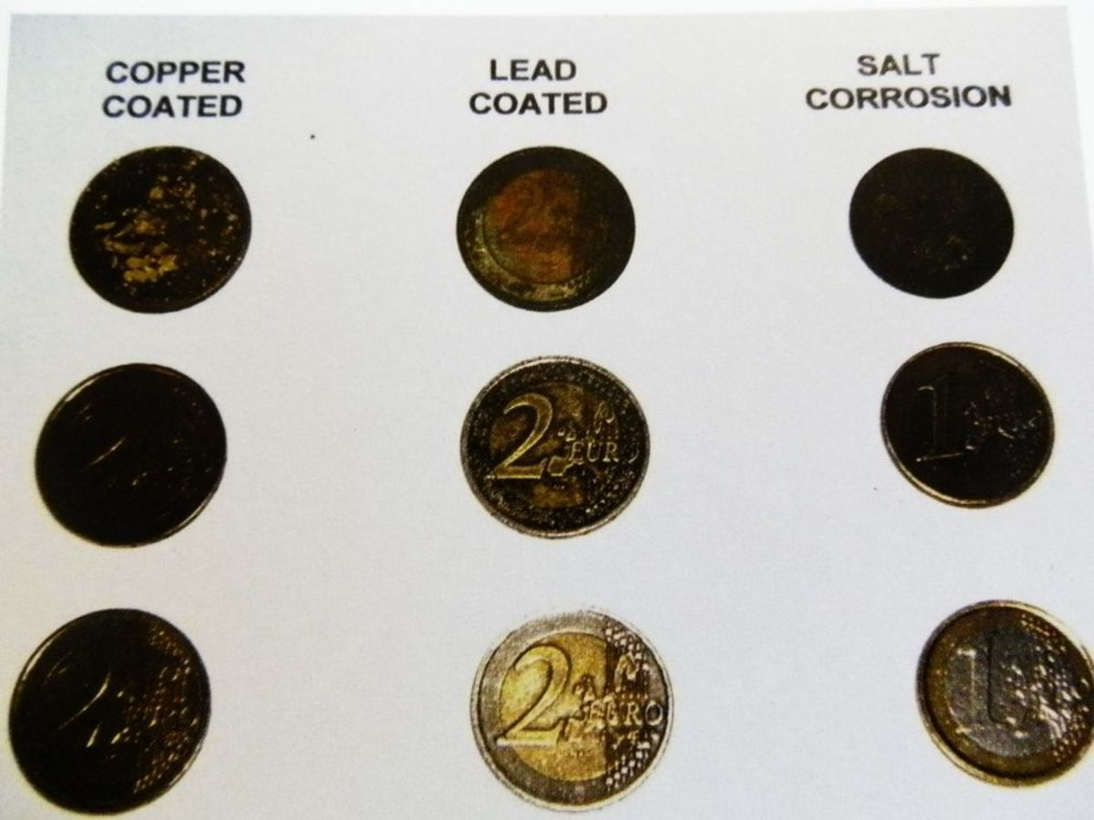 different stages of coin cleaning