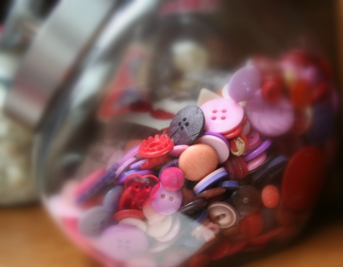 Buttons in an old-fashioned cookie jar