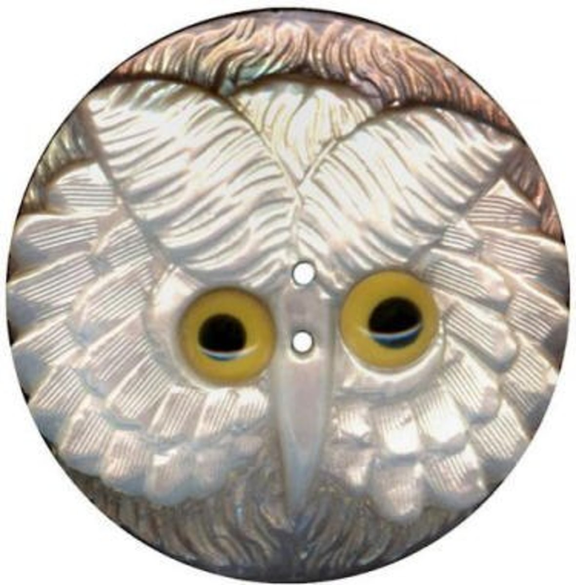 Owl button made from shell