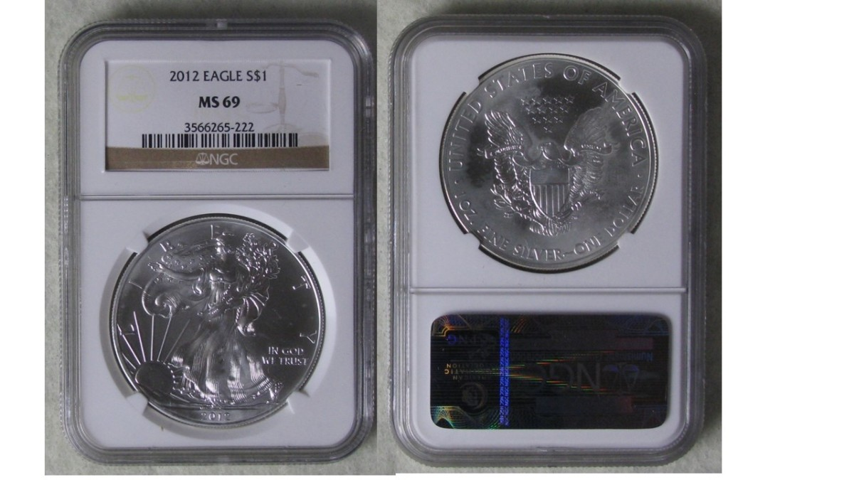 Example of a professionally graded and encapsulated American Silver Eagle. The grade is MS69, which is one point short of a perfect coin or MS70.
