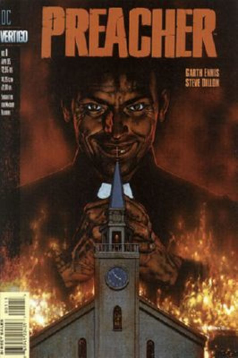 Preacher #1 - First full appearance of Jesse Custer, Tulip O'Hara, Cassidy, and the Saint of Killers