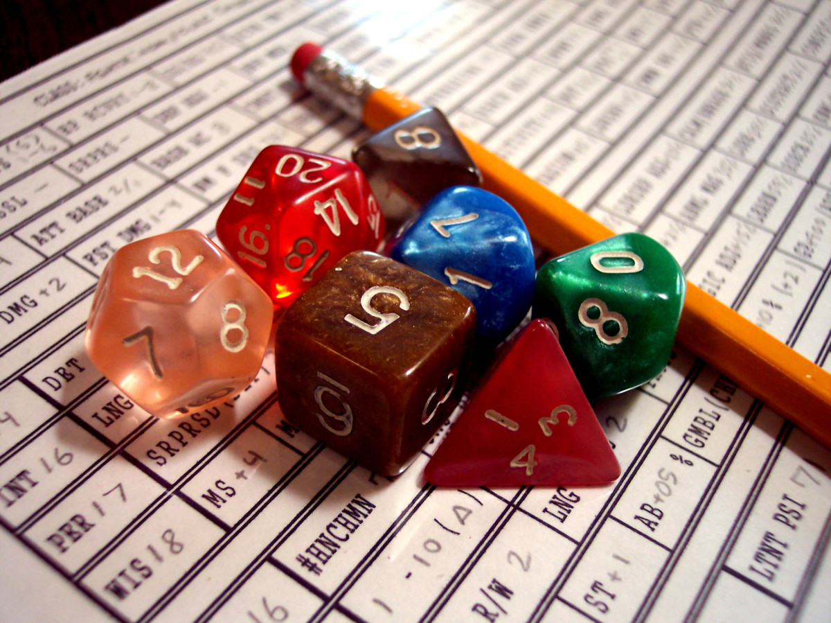Dungeons and Dragons dice with a filled out character sheet