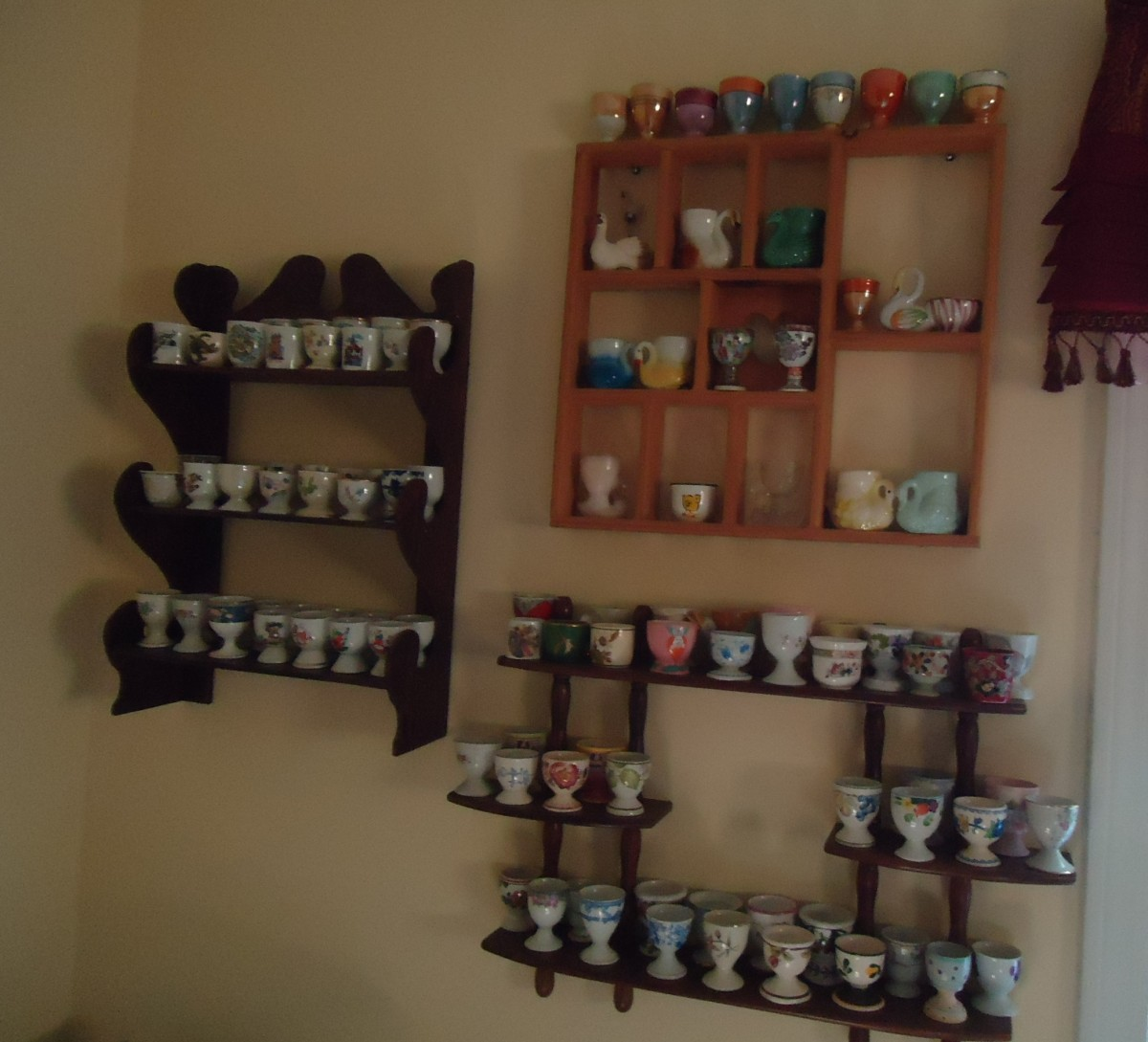 Wooden shelving for egg cups.