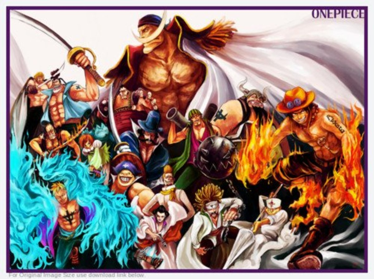 Whitebeard and his crew, with Ace and Marco