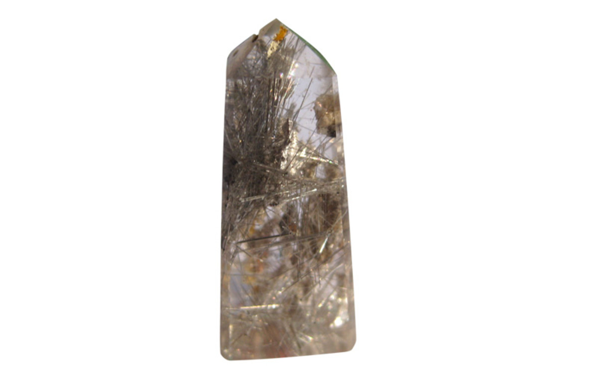 Another rutile colour in a quartz point. Click on the image to enlarge.