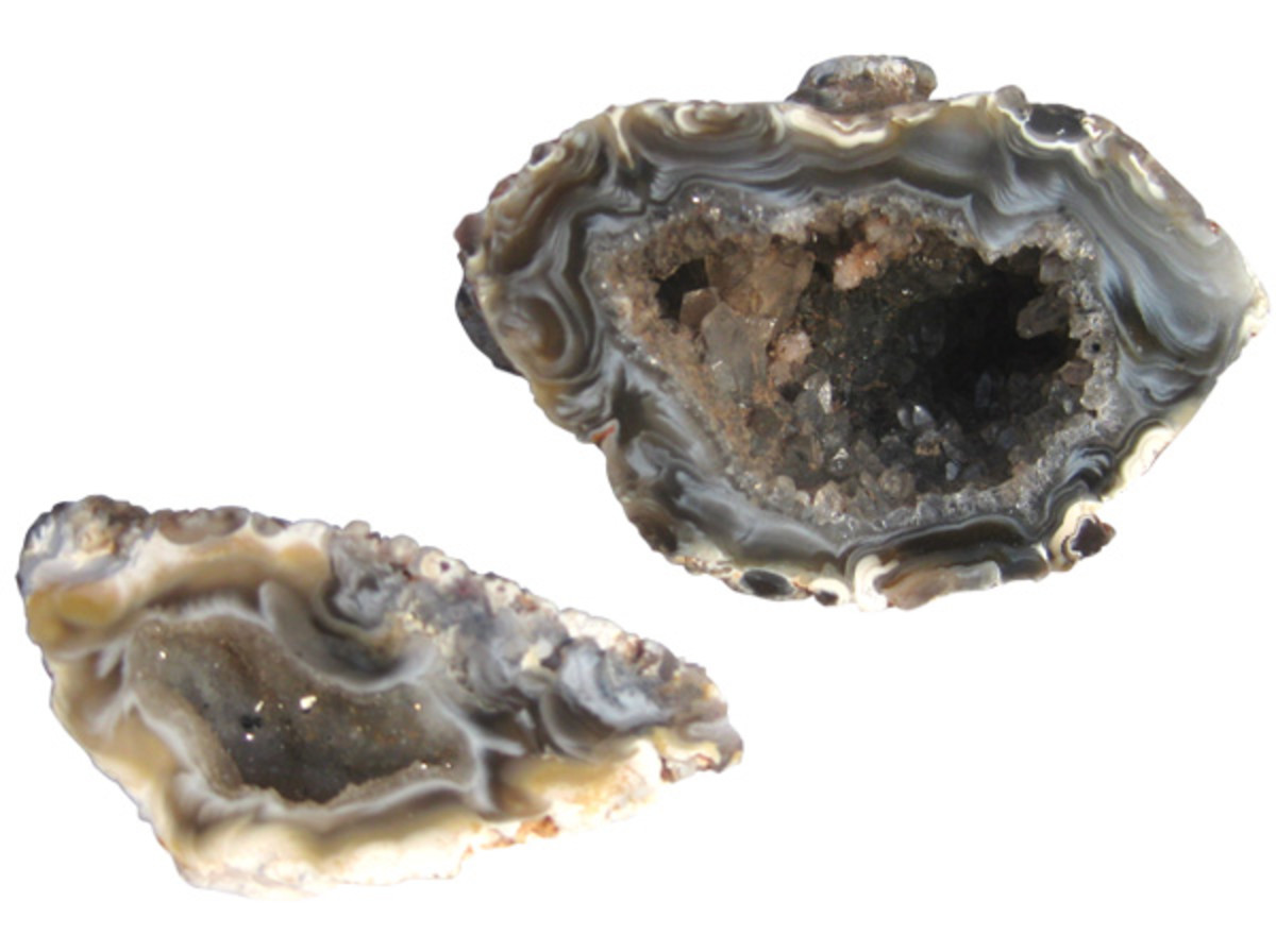 Geodes are hollow rocks filled with crystals.