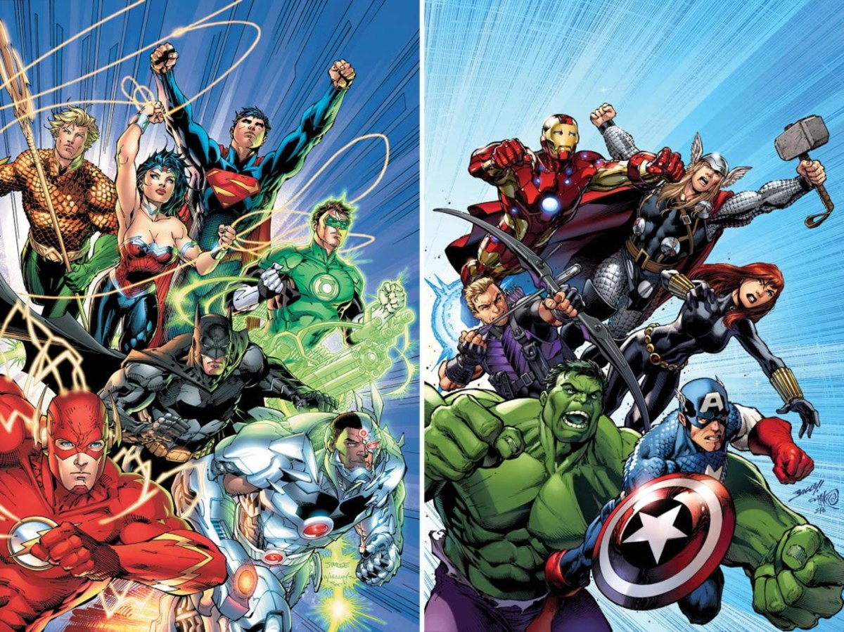The Justice League (left) and the Avengers (right)