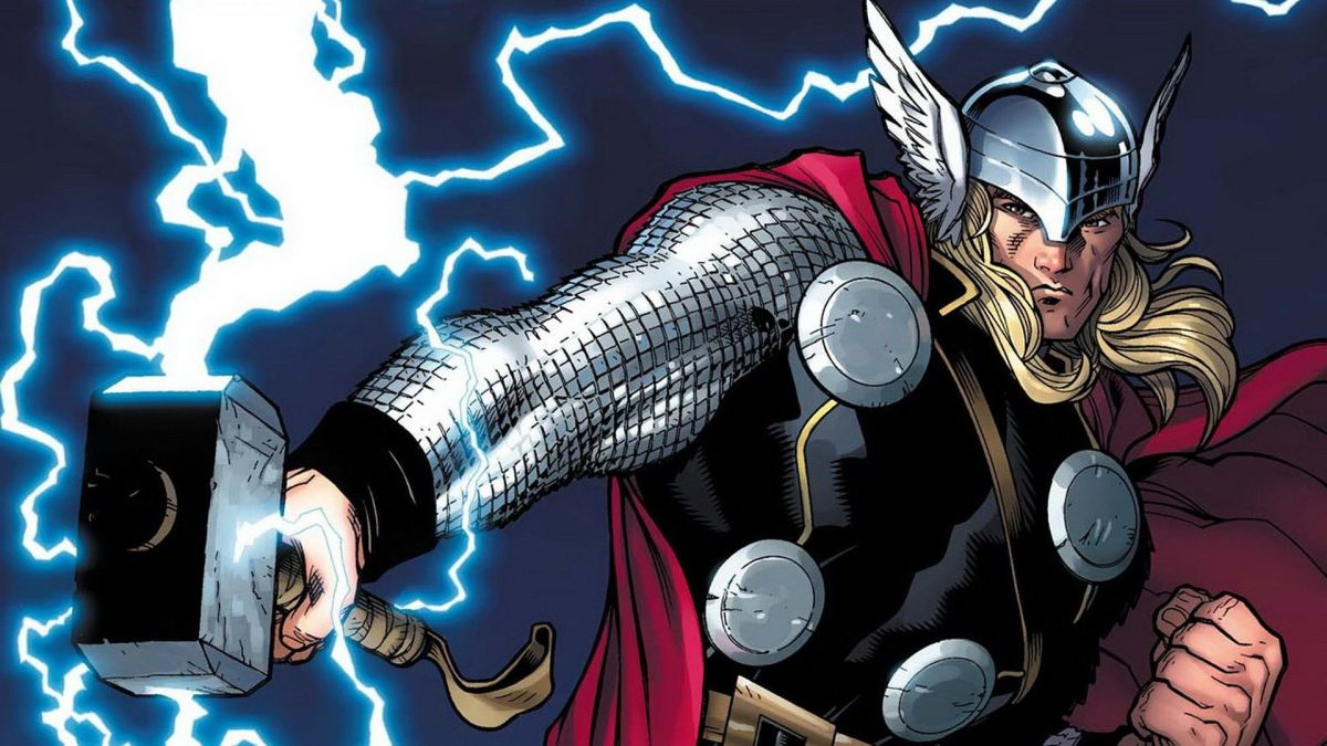 Thor channels lightning through Mjolnir