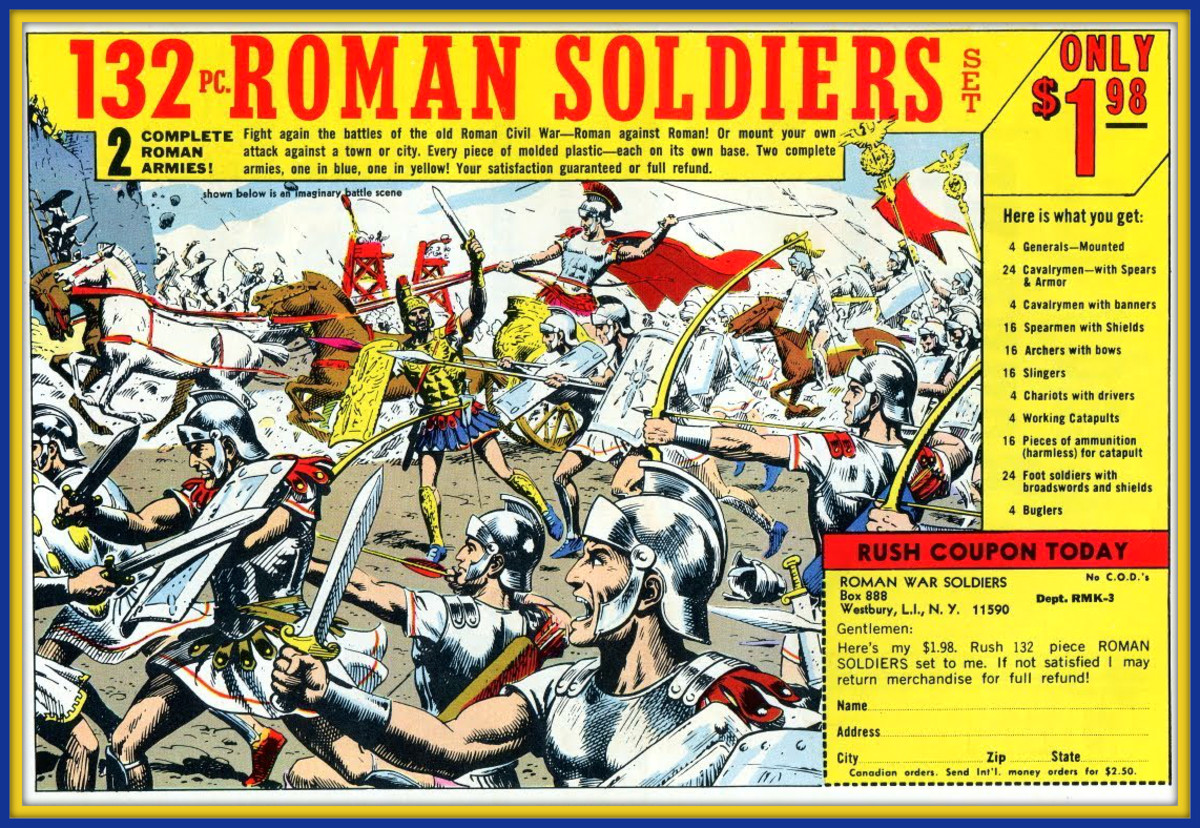 This is an original toy soldier ad by Russ Heath featuring a civil war between two competing Roman generals.