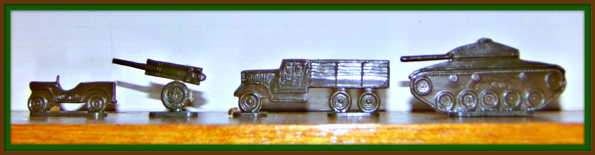 Cannons, Jeeps, Tanks, and Trucks are ready for War in this Set. You can deliver your ammo and food supplies to your army with the trucks, and pound the enemy with your tanks.