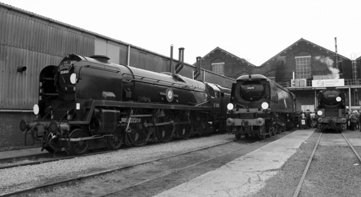 An array of Oliver Bulleid's Pacifics at Eastleigh, Hasmpshire - Bulleid had left the LNER before WWII, figuring he'd never gert past Gresley. He was offered thepost when Gresley died 1941 but turned it down. He was happy on the Southern by then