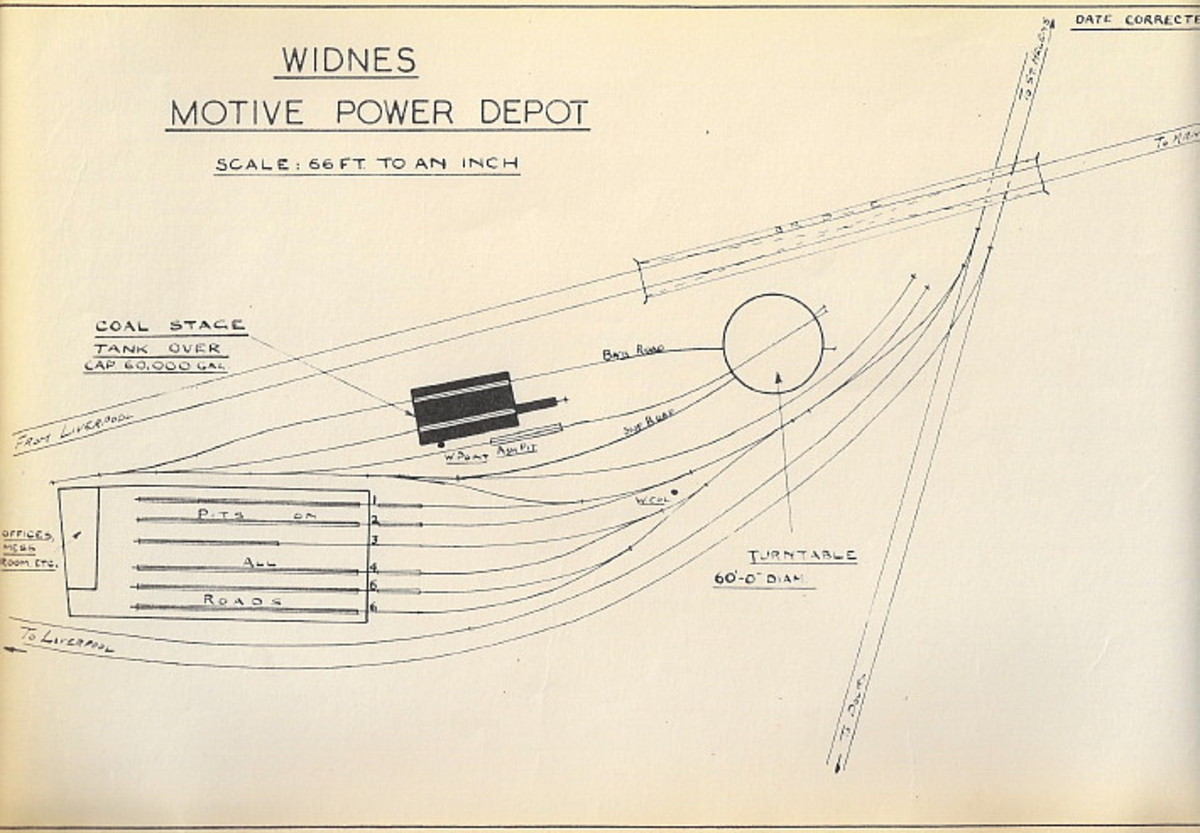 Widnes mpd shed plan - the shed was situated between the Midland and London & North Western Railway companies' lines in Cheshire