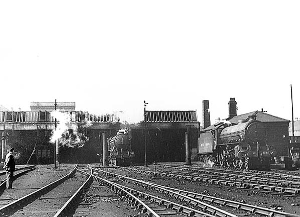 This is Walton-on-the-Hill with a small number of locomotives standing out in the open - the loco on the right is an LNER/BR Class B1  4-6-0 in early BR livery, that in the doorway looks like LNER/BR Class K3 2-6-0 (possibly from Sheffield area)