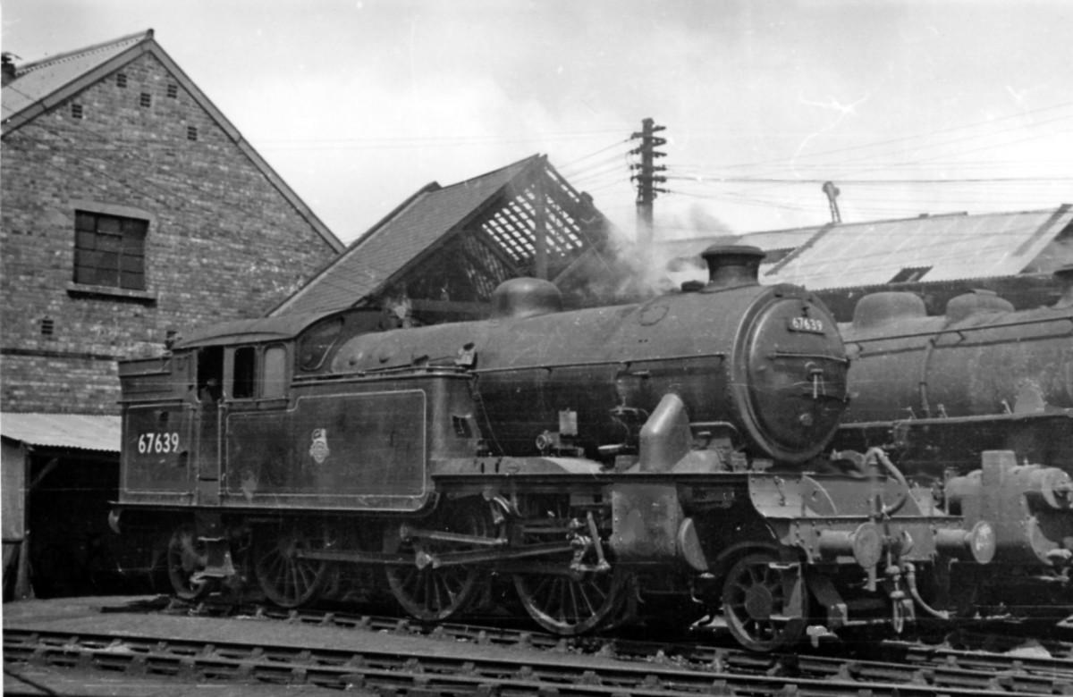 67639, one of Middlesbrough's Class V1  2-6-2 tank locos rests between turns - behind is LMS Ivatt designed Class 4MT 2-6-0 'Flying Pig' visiting from 51A Darlington; when Middlesbrough closed 1958, locos went to 51L Thornaby 'down the road'.