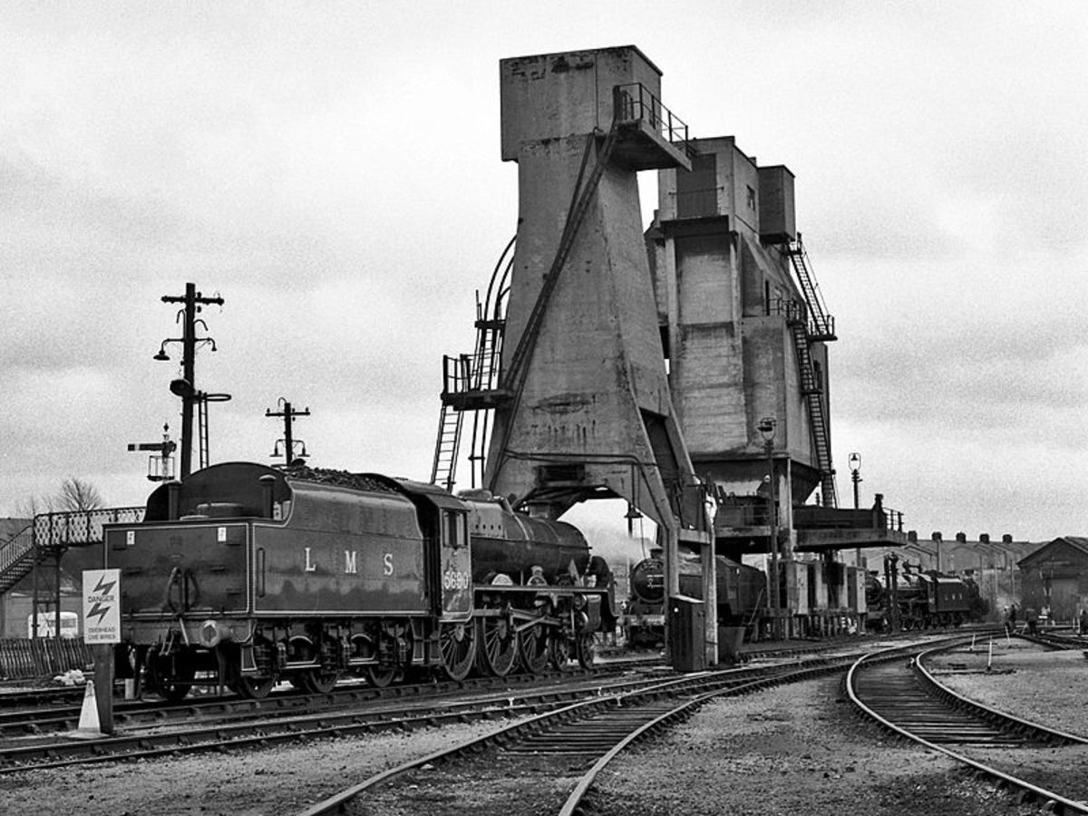 Carnforth, Lancashire in pre-Nationalisation days  with 5690 'Leander' in LMS livery - Carnforth now plays host to preserved locomotives across the country